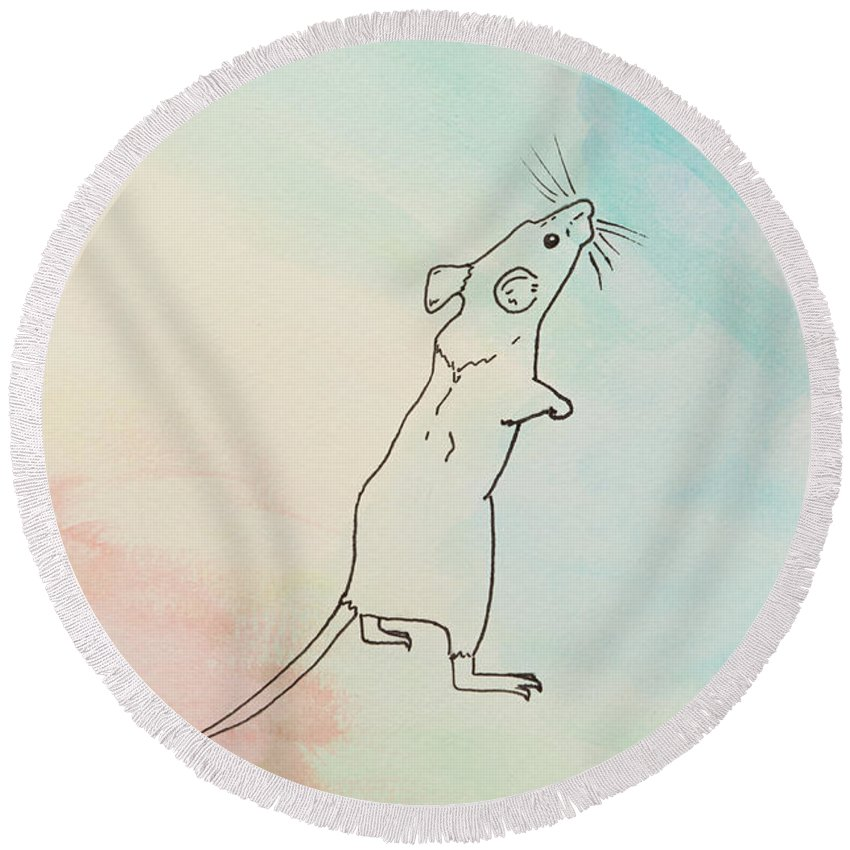 Mouse Round Beach Towel featuring the painting Rainbow Mouse by Stefanie Forck