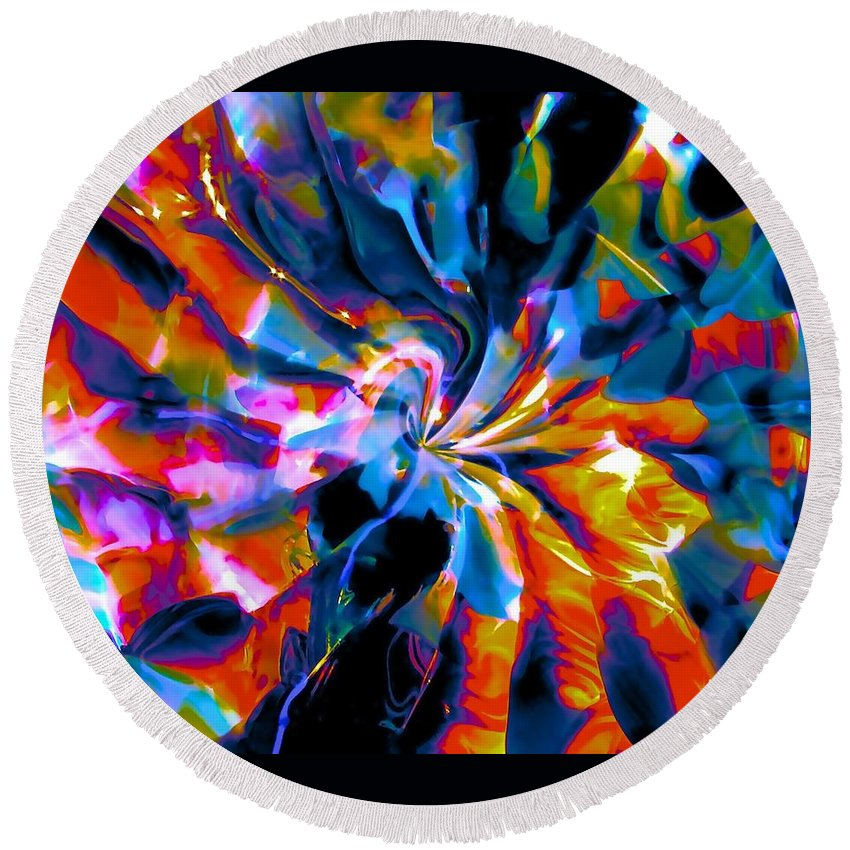 Space Round Beach Towel featuring the photograph Rainbow Nebula by Tim G Ross