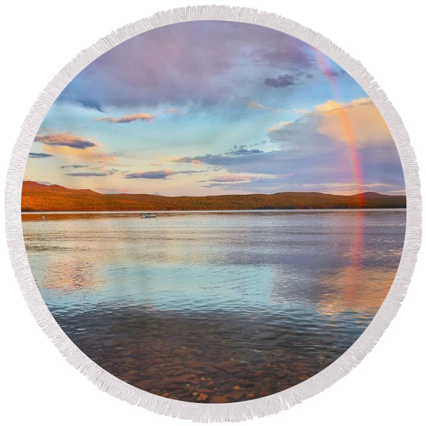 Rainbow Mountain Landscape Lake Pittsburgnh Round Beach Towel featuring the photograph Rainbow Over Magalloway by Nick Walker