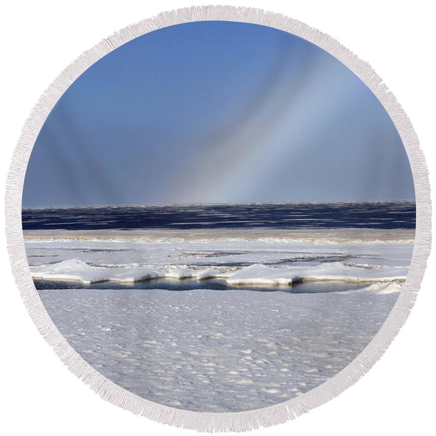 Rainbow Round Beach Towel featuring the photograph Rainbow Over The Arctic by Anthony Jones