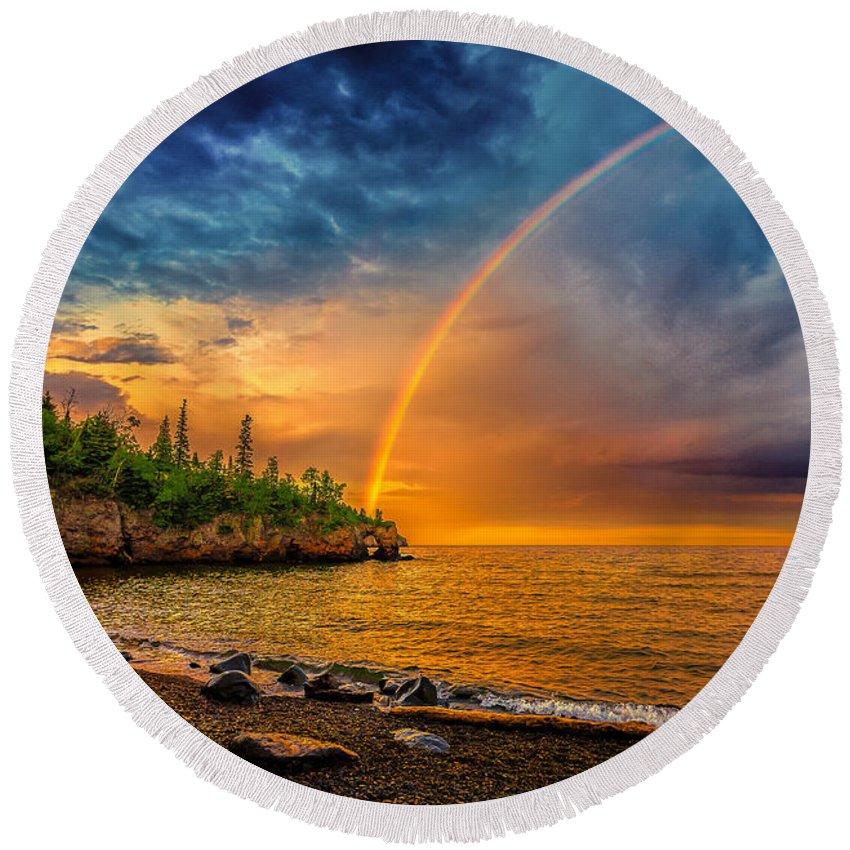 Atmosphere Round Beach Towel featuring the photograph Rainbow Point by Rikk Flohr