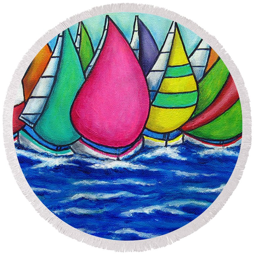 Boats Round Beach Towel featuring the painting Rainbow Regatta by Lisa Lorenz