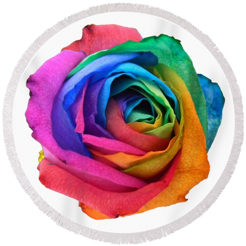Rainbow Rose Round Beach Towel featuring the photograph Rainbow Rose 01 by Vanessa-May Dolphin