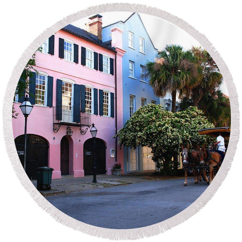 Charleston Round Beach Towel featuring the photograph Rainbow Row Charleston by Susanne Van Hulst