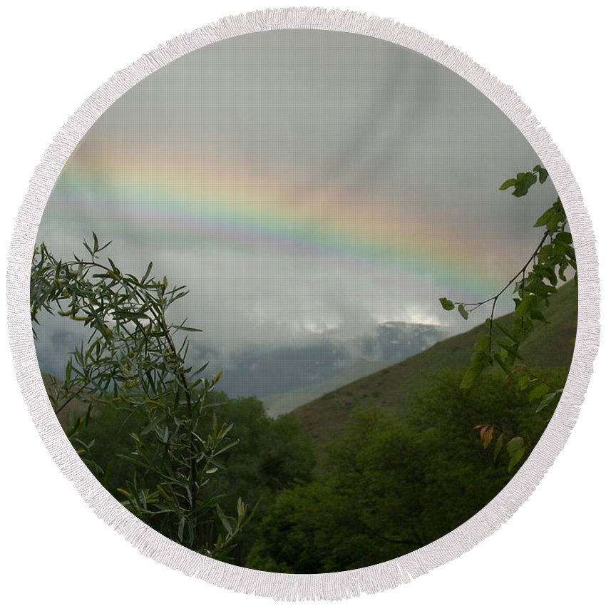 Trees Round Beach Towel featuring the photograph Rainbow by Sara Stevenson