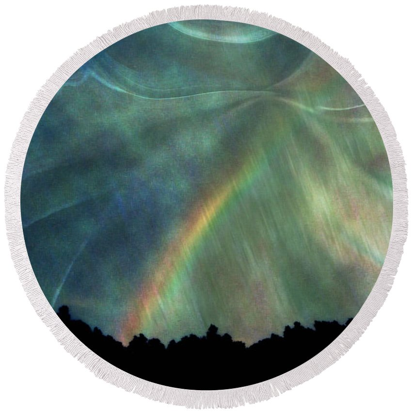Nature Round Beach Towel featuring the photograph Rainbow Showers by Linda Sannuti