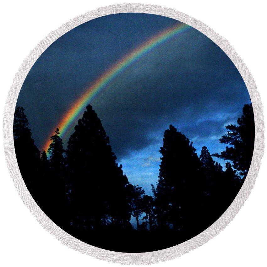 Rainbow Round Beach Towel featuring the photograph Rainbow Sky by Peter Piatt