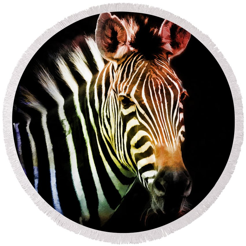Zebra Round Beach Towel featuring the photograph Rainbow Zebra by Athena Mckinzie