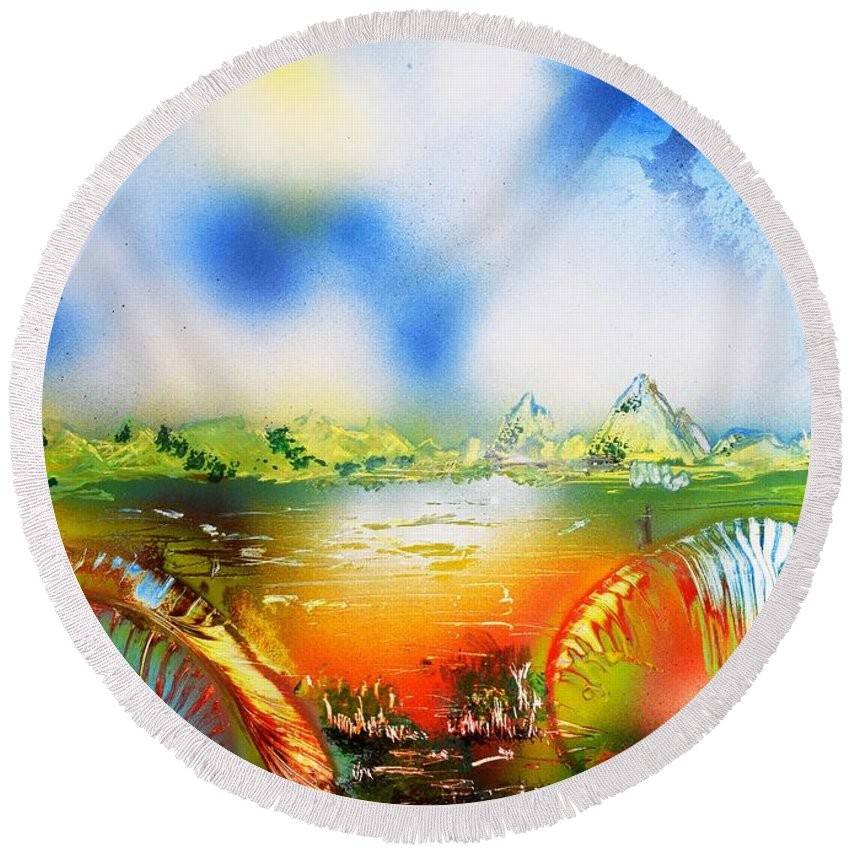 Fantasy Round Beach Towel featuring the painting Rainbowland by Nandor Molnar