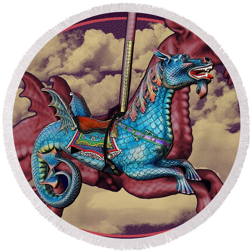 Rainey Round Beach Towel featuring the photograph Rainey The Dragon-horse by Martin Brockhaus