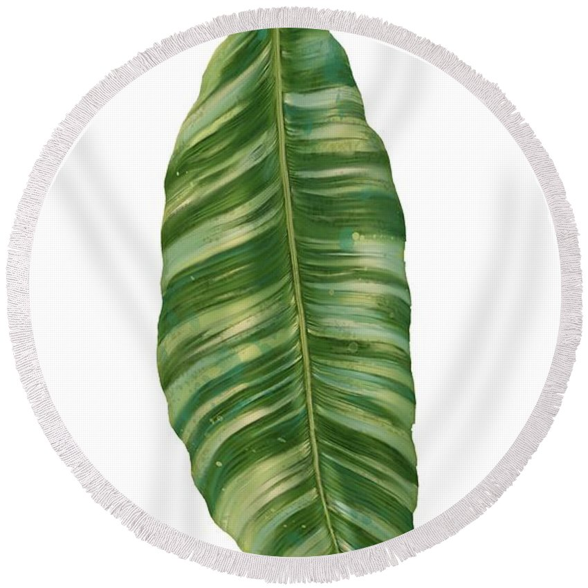 Tropical Round Beach Towel featuring the painting Rainforest Resort - Tropical Banana Leaf by Audrey Jeanne Roberts