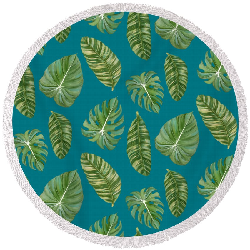 Tropical Round Beach Towel featuring the painting Rainforest Resort - Tropical Leaves Elephant's Ear Philodendron Banana Leaf by Audrey Jeanne Roberts