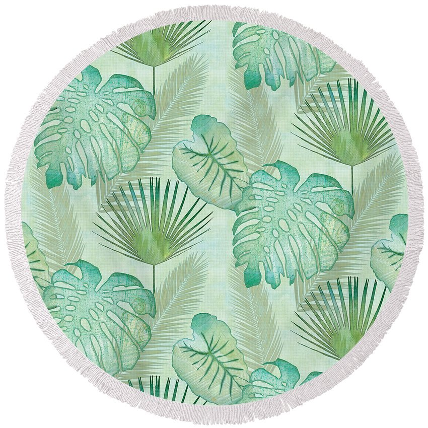 Rain Round Beach Towel featuring the painting Rainforest Tropical - Elephant Ear And Fan Palm Leaves Repeat Pattern by Audrey Jeanne Roberts