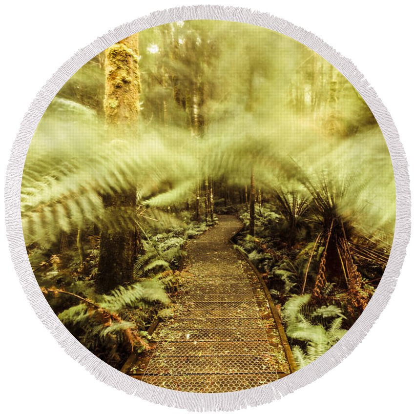Blurred Round Beach Towel featuring the photograph Rainforest Walk by Jorgo Photography - Wall Art Gallery