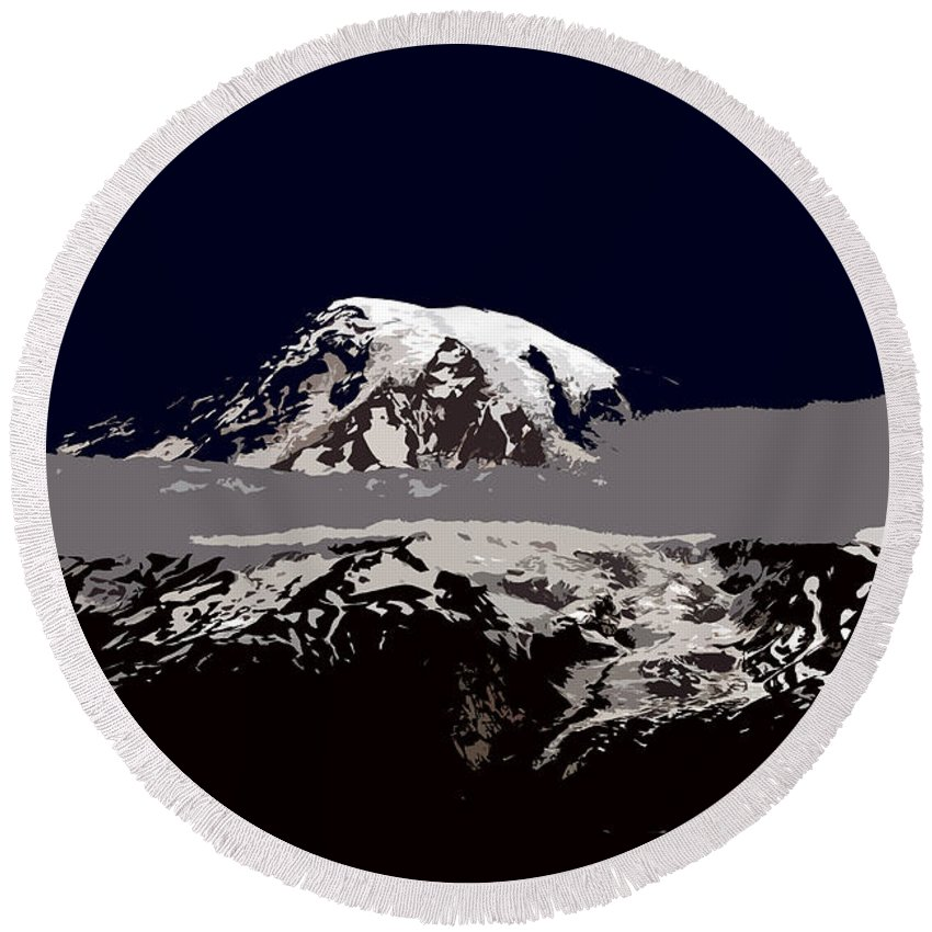 Mt Rainier Round Beach Towel featuring the painting Rainier by David Lee Thompson