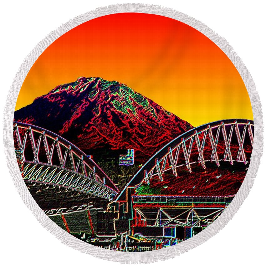 Mount Rainier Round Beach Towel featuring the photograph Rainier Over Qwest Field by Tim Allen