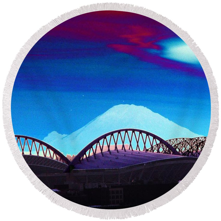Seattle Round Beach Towel featuring the photograph Rainier Over Sodo by Tim Allen