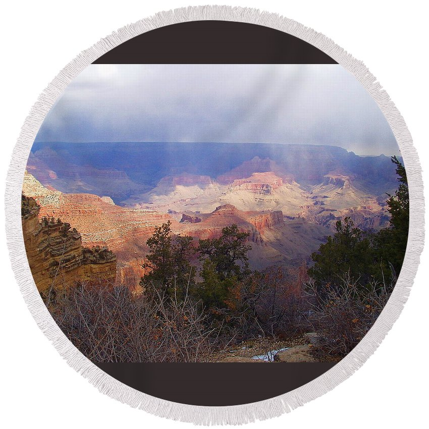 Grand Canyon Round Beach Towel featuring the photograph Raining In The Canyon by Marna Edwards Flavell