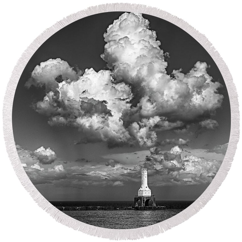 Great Lakes Lighthouses Round Beach Towel featuring the photograph Rainmaker, Rainmaker by Jeffrey Ewig