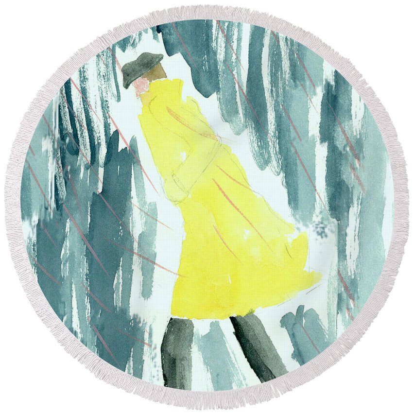 Man In Raincoat Round Beach Towel featuring the painting Rainman by Kate Hopson