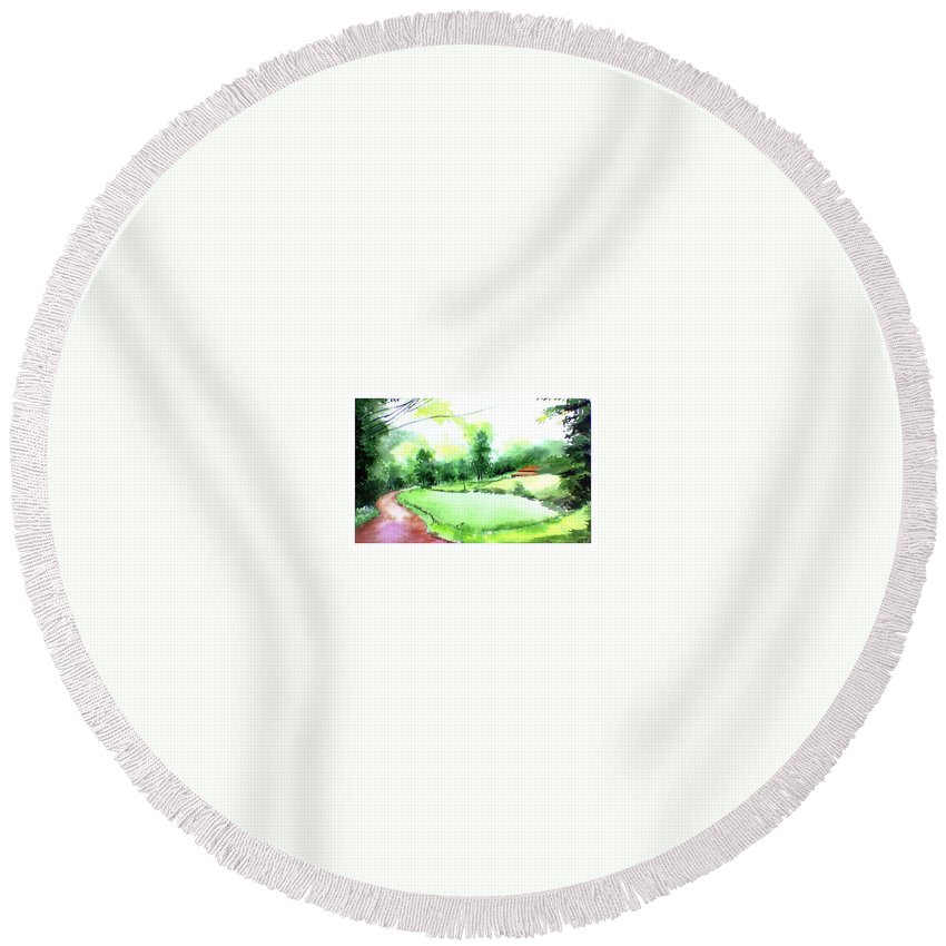 Landscape Round Beach Towel featuring the painting Rains In West by Anil Nene