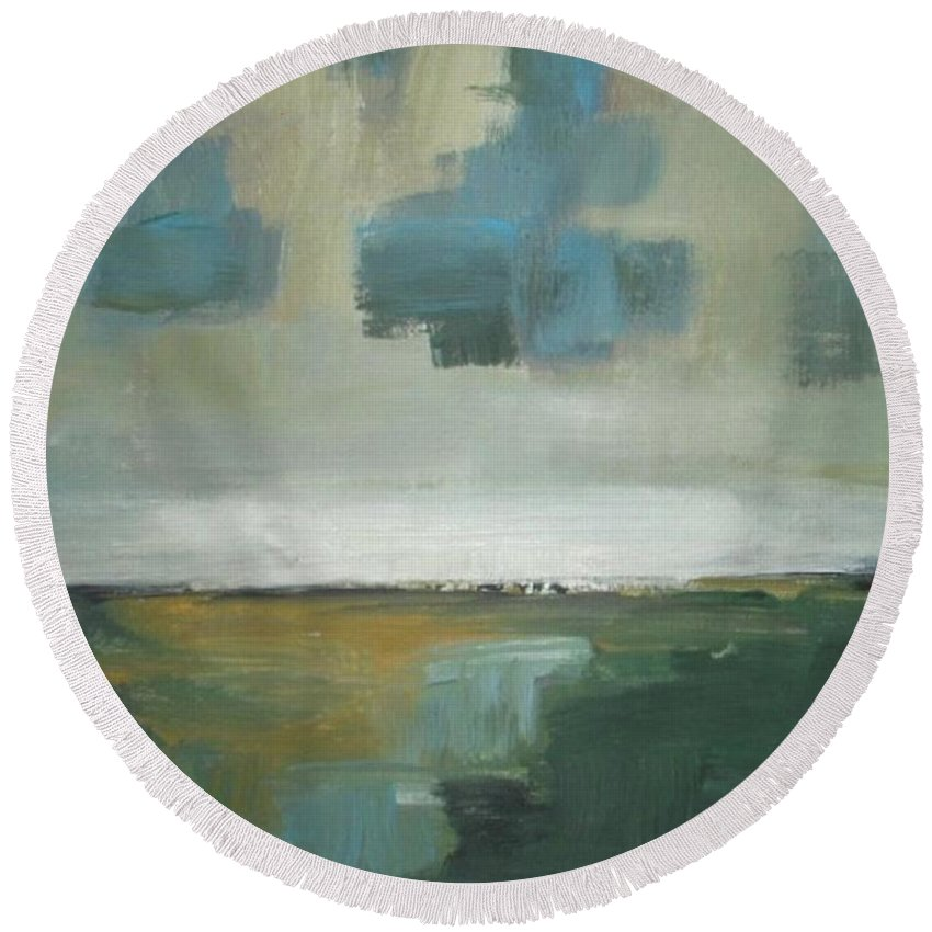 Abstract Round Beach Towel featuring the painting Rainy Clouds by Vesna Antic