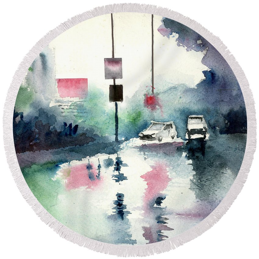 Nature Round Beach Towel featuring the painting Rainy Day by Anil Nene