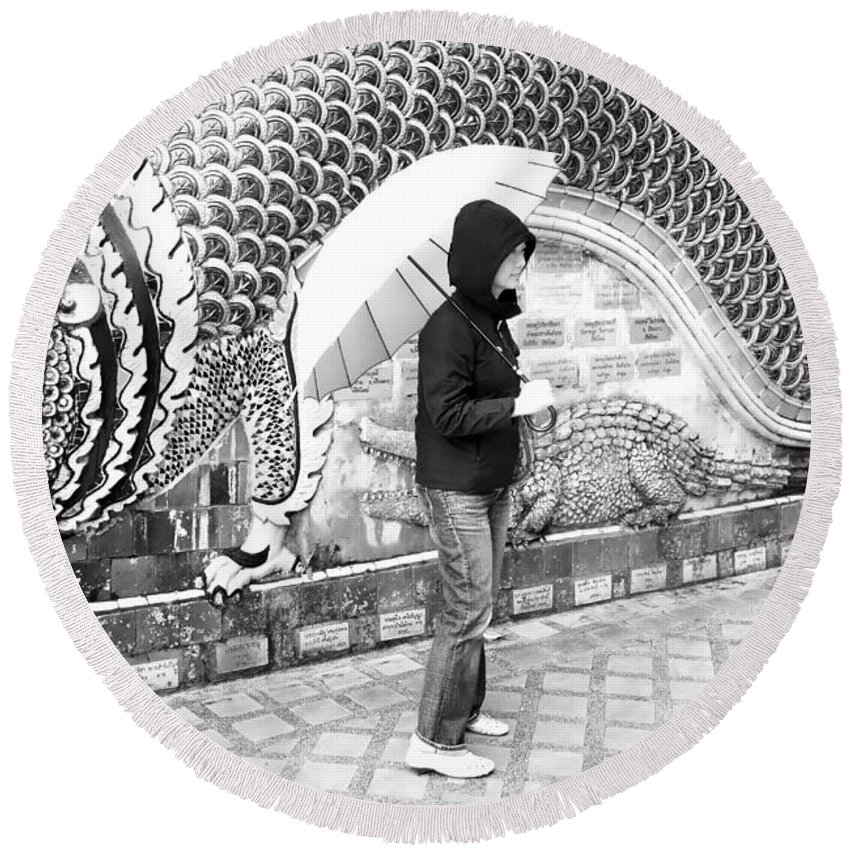 Architecture Round Beach Towel featuring the photograph Rainy Day At The Wat Phra That Temple by David Coleman