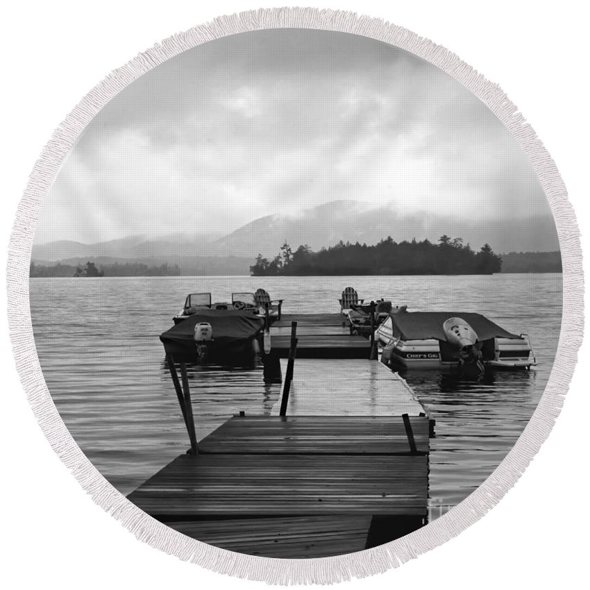 Timothy Flanigan Round Beach Towel featuring the photograph Rainy Day Dock by Timothy Flanigan