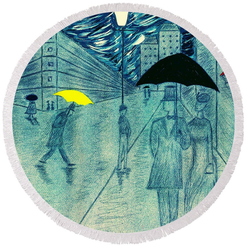 Umbrellas Round Beach Towel featuring the painting Rainy Day In The City by Kate Hopson