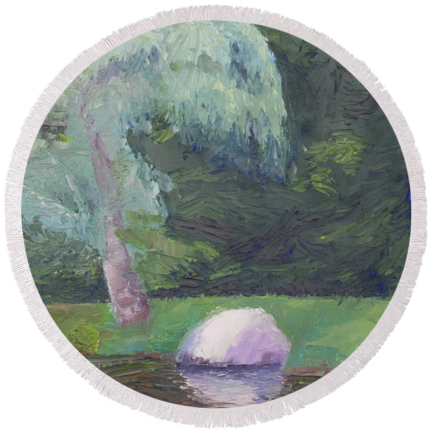 Landscape Painting Round Beach Towel featuring the painting Rainy Day by Lea Novak
