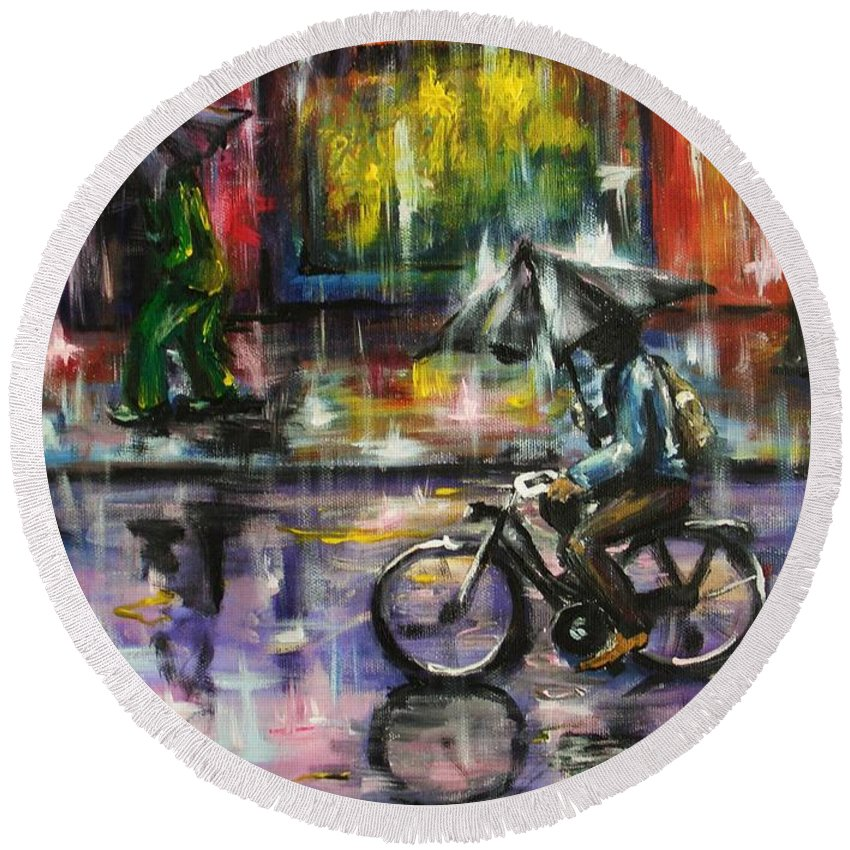 Town Streets Round Beach Towel featuring the painting Rainy day original painting by Natalja Picugina