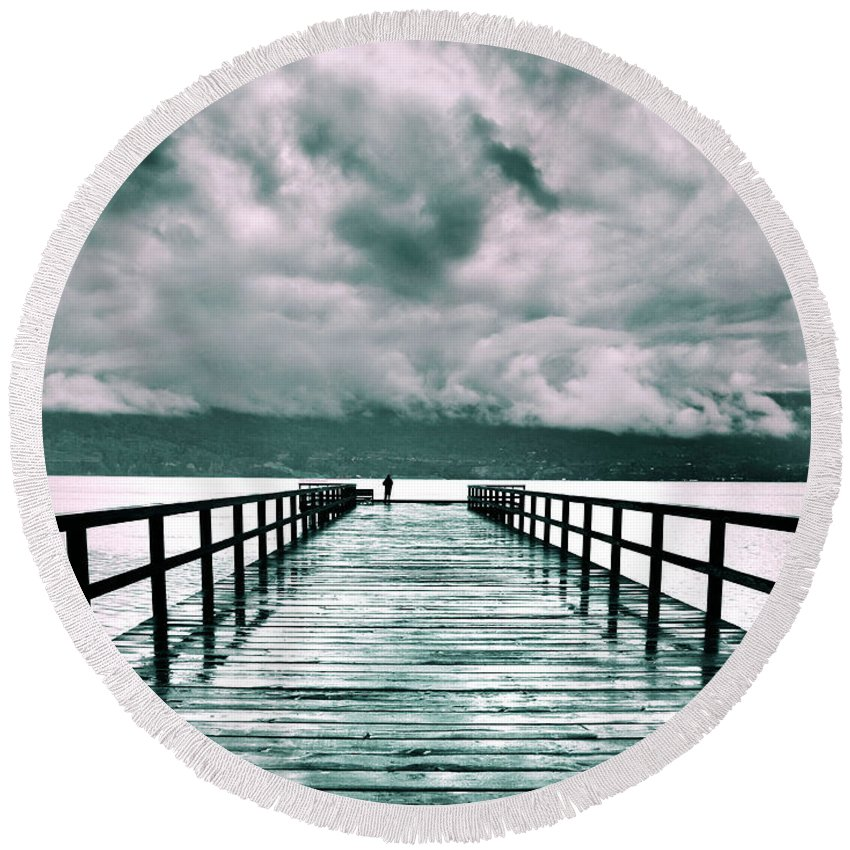 Pier Round Beach Towel featuring the photograph Rainy Days In Summerland 2 by Tara Turner