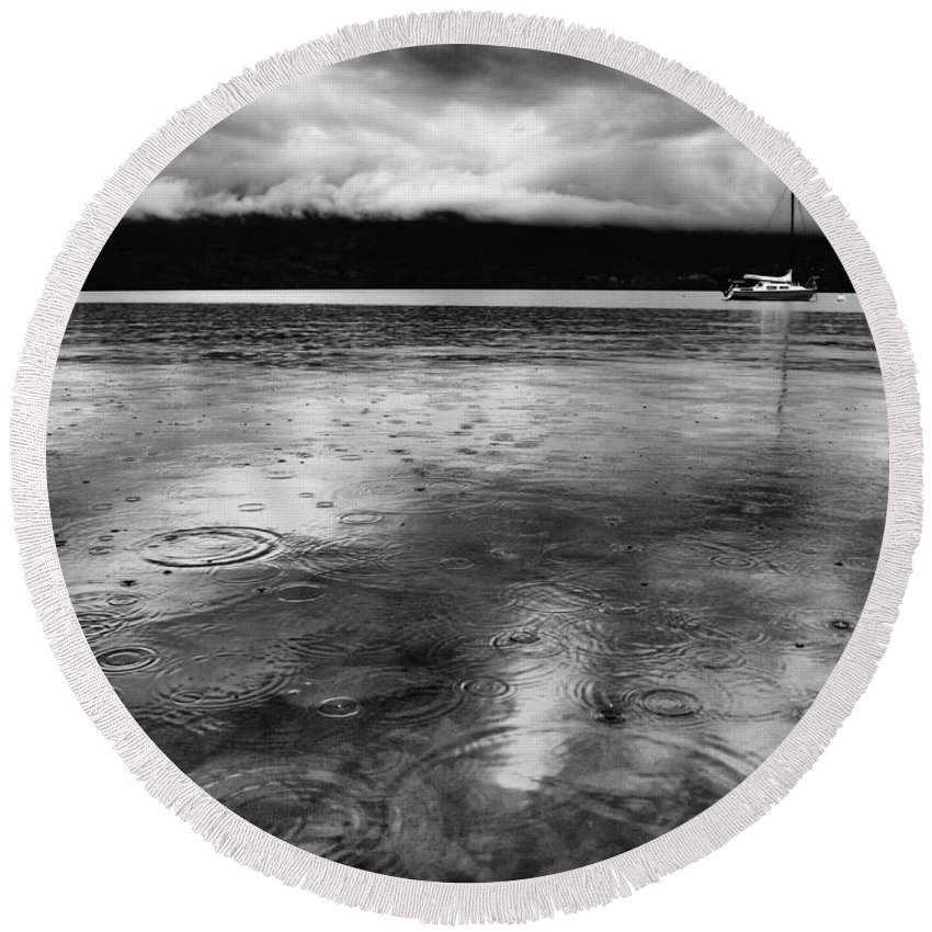 Black Round Beach Towel featuring the photograph Rainy Days In Summerland by Tara Turner