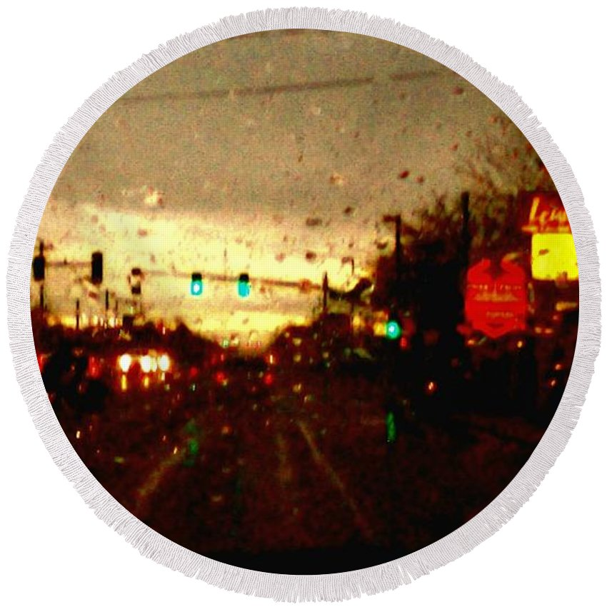 Aunalea Vasquez Round Beach Towel featuring the photograph Rainy Evening by Aunalea Vasquez