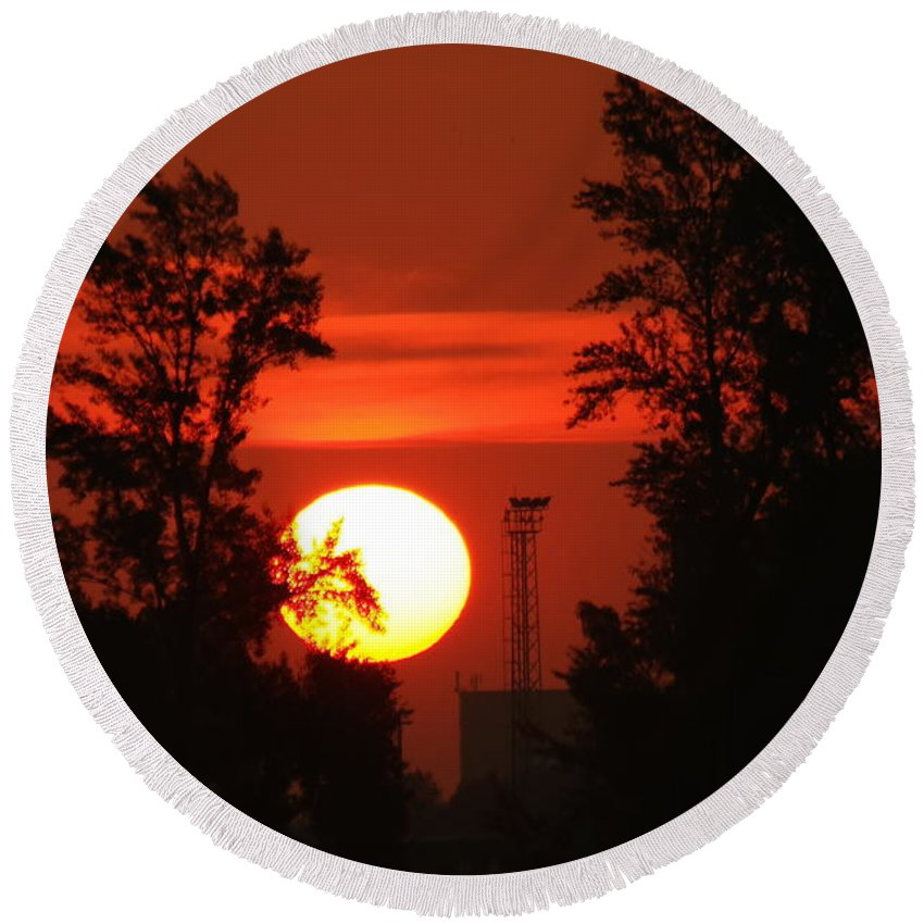 Sunrise Round Beach Towel featuring the photograph Rising Sun by Explorer Lenses Photography