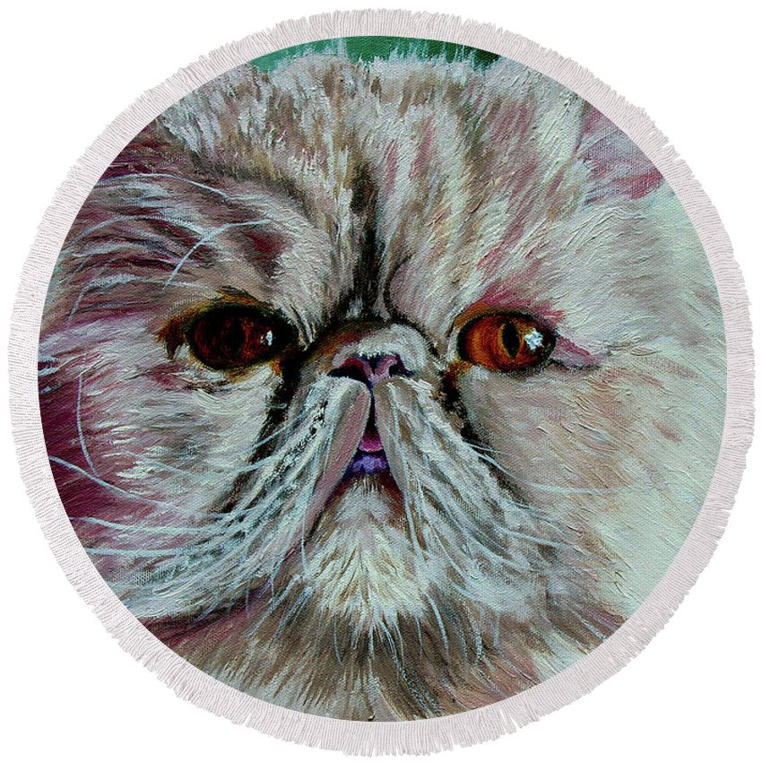 Cat Portrait Round Beach Towel featuring the painting Ralph by Stan Hamilton