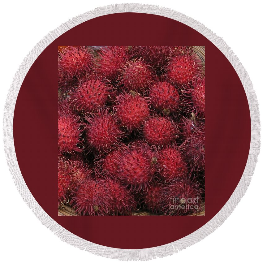 Rambutan Round Beach Towel featuring the photograph Rambutan by Mary Deal