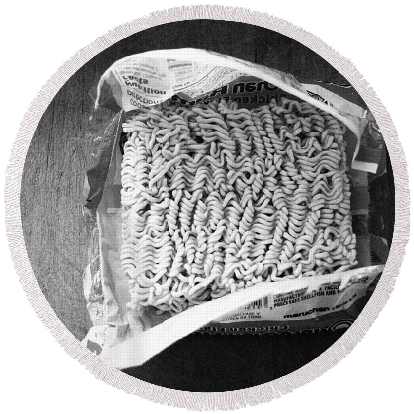 Noodles Round Beach Towel featuring the photograph Ramen- Black And White Photography By Linda Woods by Linda Woods