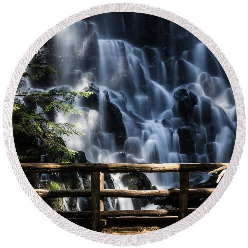 Waterfall Round Beach Towel featuring the photograph Ramona Falls by Patricia Babbitt