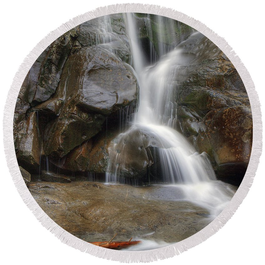 Ramsey Round Beach Towel featuring the photograph Ramsey Cascades In Great Smoky Mountains National Park Tennesee by Brendan Reals