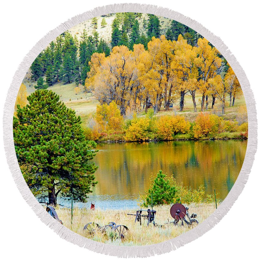 Pond Round Beach Towel featuring the photograph Ranch Pond In Autumn by Robert Meyers-Lussier