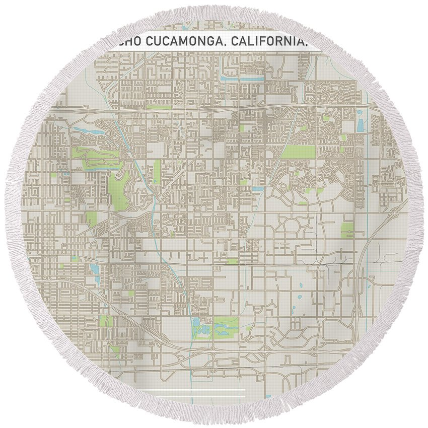 Rancho Cucamonga Round Beach Towel featuring the digital art Rancho Cucamonga California Us City Street Map by Frank Ramspott