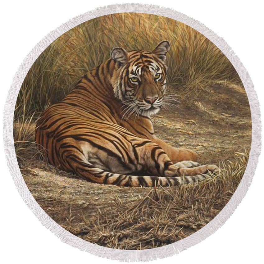 Wildlife Paintings Round Beach Towel featuring the painting Ranthambore Roadblock by Alan M Hunt