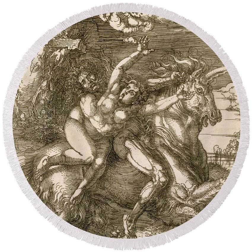 Albrecht Durer Round Beach Towel featuring the relief Rape of Prosperpina by Albrecht Durer