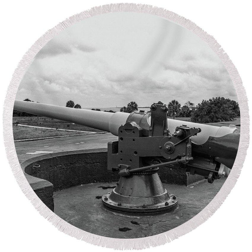 Gun Round Beach Towel featuring the photograph Rapid Fire Gun by Dale Powell