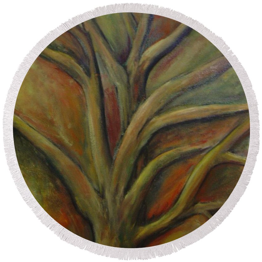 Tree Abstract Painting Expressionist Original Leila Atkinson Round Beach Towel featuring the painting Rapt by Leila Atkinson