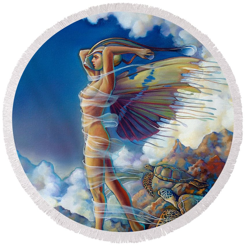 Mermaid Round Beach Towel featuring the painting Rapture And The Ecstasea by Patrick Anthony Pierson