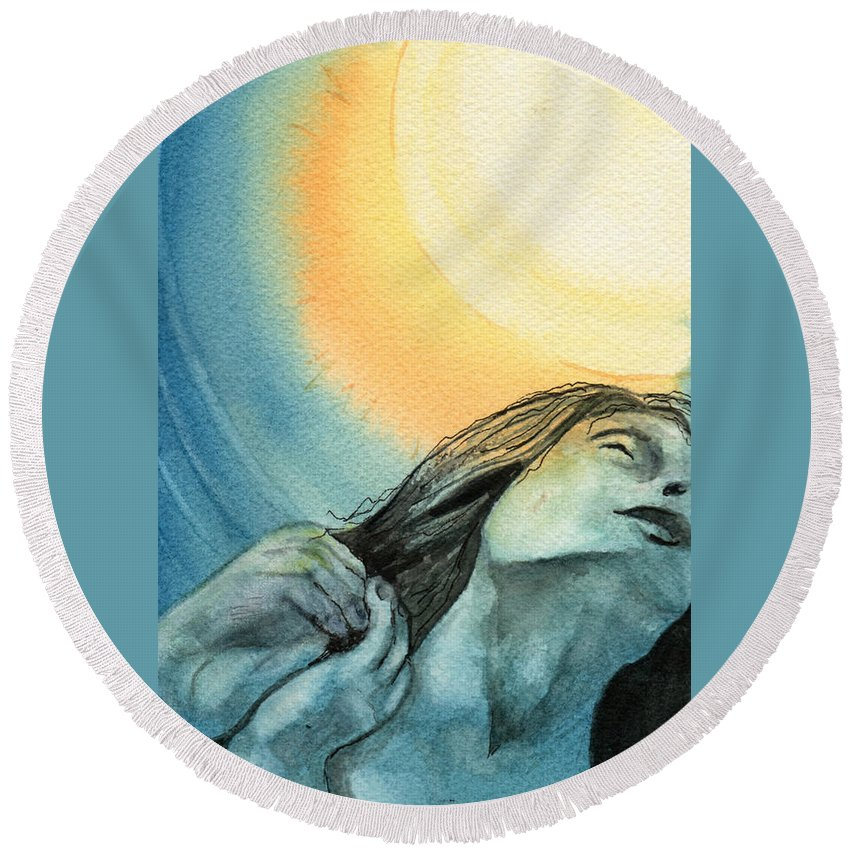 Watercolor Round Beach Towel featuring the painting Rapture by Brenda Owen