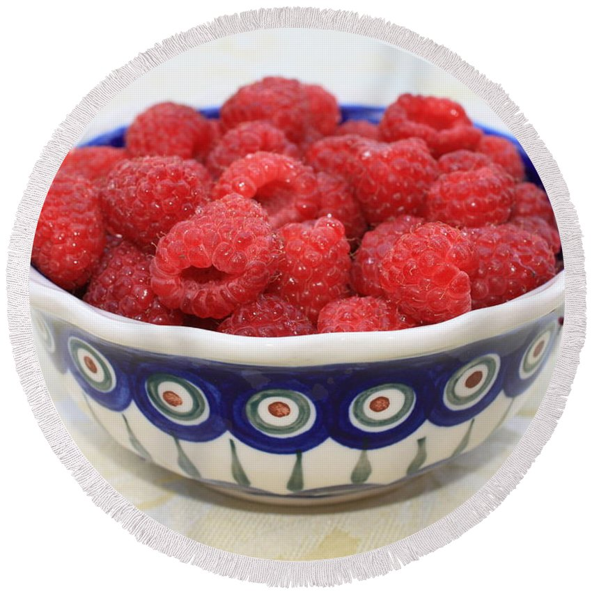 Raspberries Round Beach Towel featuring the photograph Raspberries In Polish Pottery Bowl by Carol Groenen